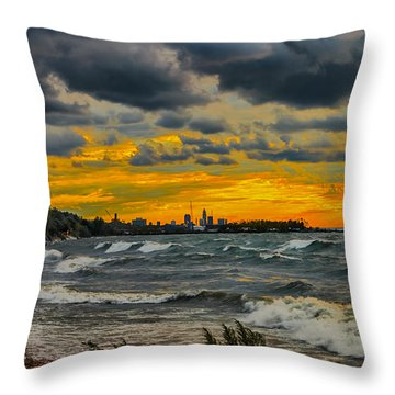 Cleveland Waves Throw Pillow