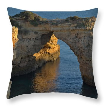 Cliff Arch In Albandeira Beach During Sunset 2 Throw Pillow