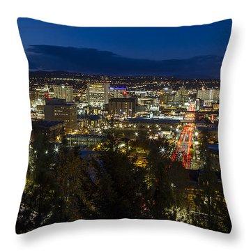 Cliff Drive Rush Hour - Spokane  Throw Pillow