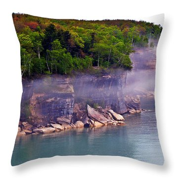 Throw Pillow featuring the photograph Cliff Fog by SimplyCMB
