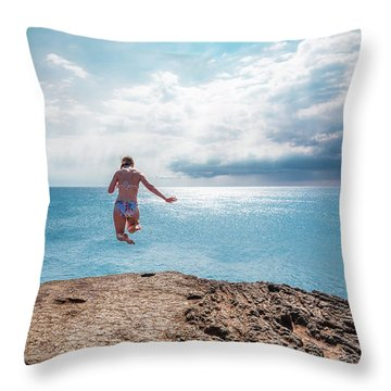 Throw Pillow featuring the photograph Cliff Jumping by Break The Silhouette