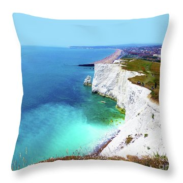 Throw Pillow featuring the photograph Cliff Landscape by Francesca Mackenney