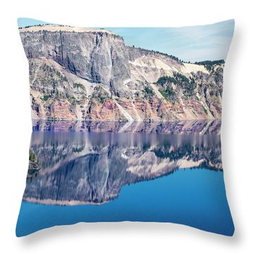 Throw Pillow featuring the photograph Cliff Rim Of Crater Lake by Frank Wilson