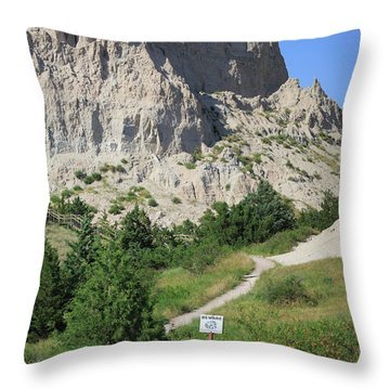 Cliff Shelf Trail In Badlands National Park South Dakota Throw Pillow by Louise Heusinkveld