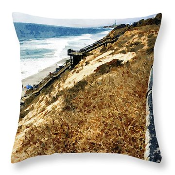 Cliff View - Carlsbad Ponto Beach Throw Pillow
