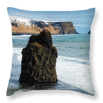 Throw Pillow featuring the photograph Cliffs And Ocean In Iceland Reynisfjara by Matthias Hauser