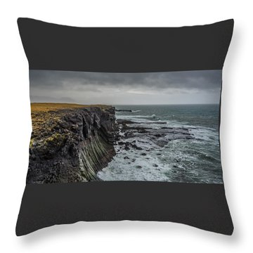 Throw Pillow featuring the photograph Cliffs At Arnarstapi by James Billings