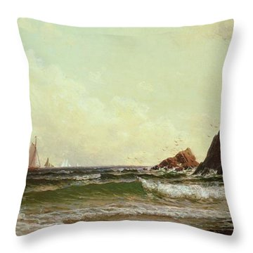 Cliffs At Cape Elizabeth Throw Pillow by Alfred Thompson Bricher