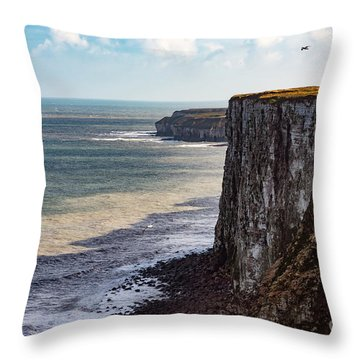 Throw Pillow featuring the photograph Cliffs Of Bempton by Anthony Baatz