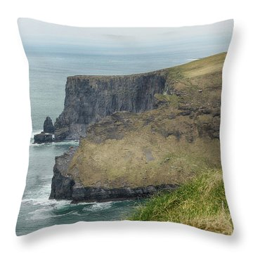 Cliffs Of Moher 1 Throw Pillow by Marie Leslie