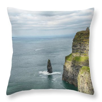 Cliffs Of Moher 3 Throw Pillow by Marie Leslie