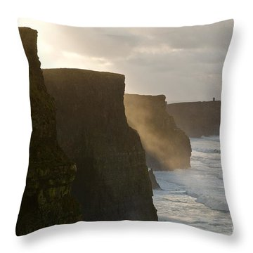 Cliffs Of Moher II Throw Pillow by Louise Fahy