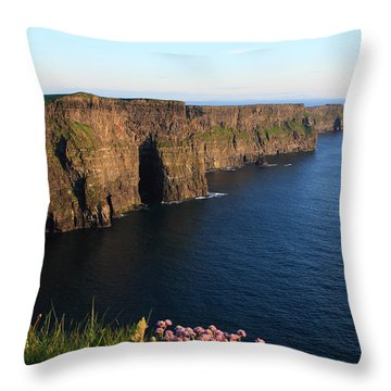 Cliffs Of Moher In Evening Light Throw Pillow