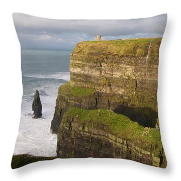 Cliffs Of Moher Throw Pillow by Louise Fahy