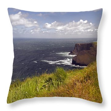 Cliffs Of Moher  Hags Head Side Throw Pillow by Cindy Murphy - NightVisions