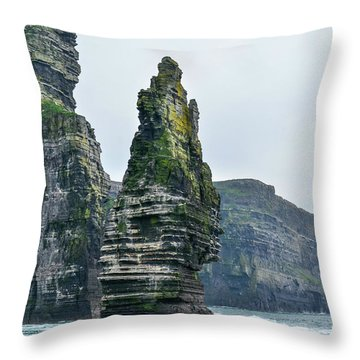 Cliffs Of Moher Sea Stack Throw Pillow