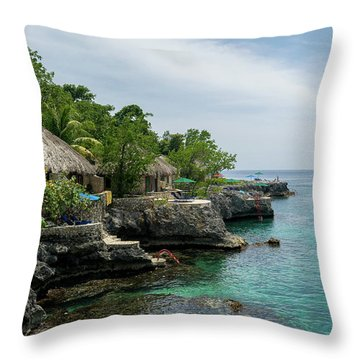 The Cliffs Of Negril Throw Pillow