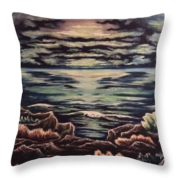 Throw Pillow featuring the painting Cliffside by Cheryl Pettigrew
