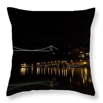 Clifton Suspension Bridge At Night Throw Pillow