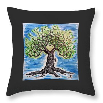 Throw Pillow featuring the drawing Climb-on Love Tree by Aaron Bombalicki
