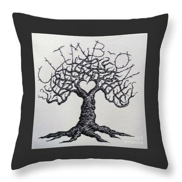 Throw Pillow featuring the drawing Climb-on Love Tree- Blk/wht by Aaron Bombalicki