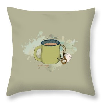 Climbing Mt Cocoa Illustrated Throw Pillow by Heather Applegate