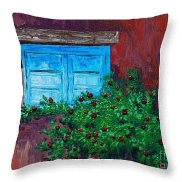 Climbing Roses Throw Pillow