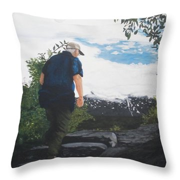 Throw Pillow featuring the painting Climbing To The Glacier... by Betty-Anne McDonald