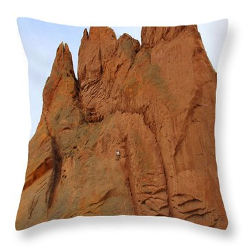 Climbing With The Gods Throw Pillow by Mike McGlothlen