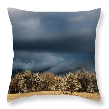 Clinging Clouds Of Winter Throw Pillow by Janie Johnson