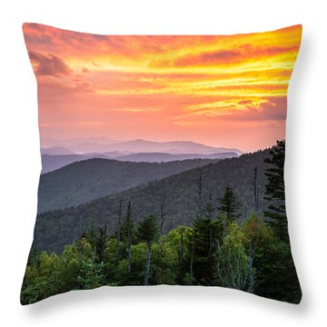 Clingmans Dome Great Smoky Mountains - Purple Mountains Majesty Throw Pillow by Dave Allen