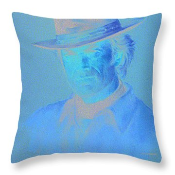 Clint Eastwood Throw Pillow by Charles Vernon Moran