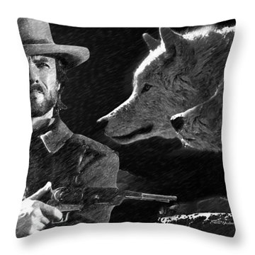 Clint Eastwood With Wolves Throw Pillow
