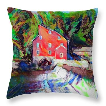 Clinton New Jersey -the Red Mill  On The Raritan River  Watercol Throw Pillow by Bill Cannon
