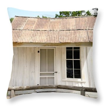 Throw Pillow featuring the photograph Clint's Cabin - Texas - Close-up by Ray Shrewsberry