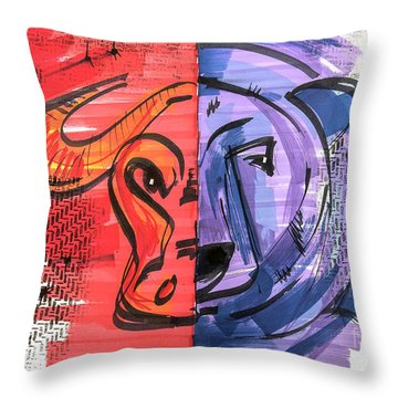 Clip Art Of Bear And Bull Of Stock Market Throw Pillow