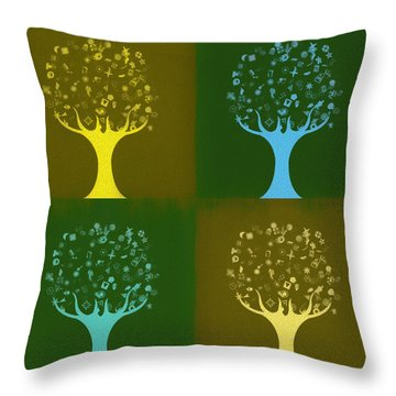 Throw Pillow featuring the mixed media Clip Art Trees by Dan Sproul