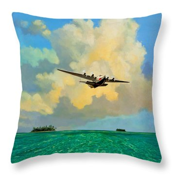 Clipper Over The Islands Throw Pillow