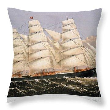 Clipper Ship, 1875 Throw Pillow