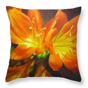 Clivias Throw Pillow by Chris Hobel