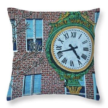 Clock At Port Warwick Throw Pillow by Micah Mullen