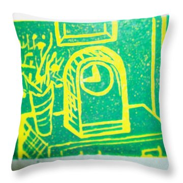 Throw Pillow featuring the mixed media Clock by Erika Chamberlin