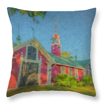David Ames Clock Farm Throw Pillow
