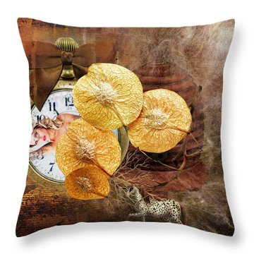 Clock Girl Throw Pillow