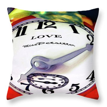 Clock In The Garden Painting 2 Throw Pillow