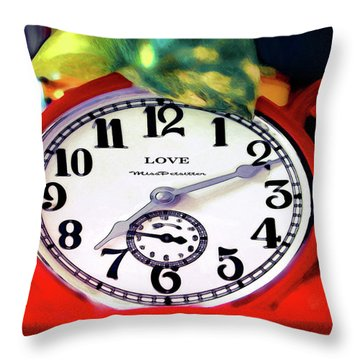 Clock In The Garden Painting 3 Throw Pillow