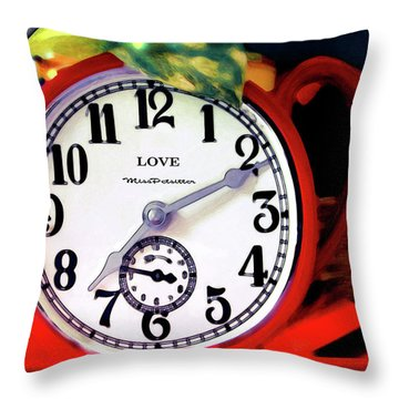 Clock In The Garden Painting  Throw Pillow
