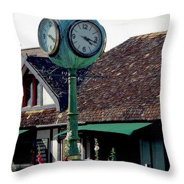 Clock Of Solvang Throw Pillow