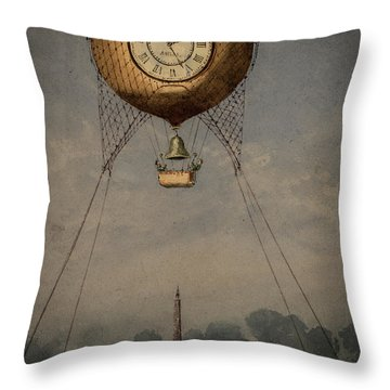 Clock Over Paris Throw Pillow