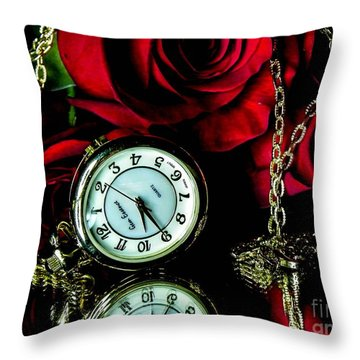 Clock-rose Throw Pillow